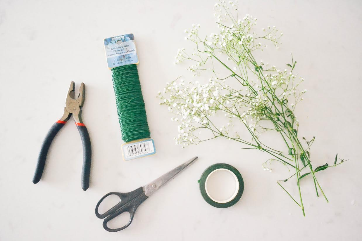 This is what you will need.. scissors to cut sprigs of flowers, babies breath, wire cutters, wire and flower tape from your local Micheals.