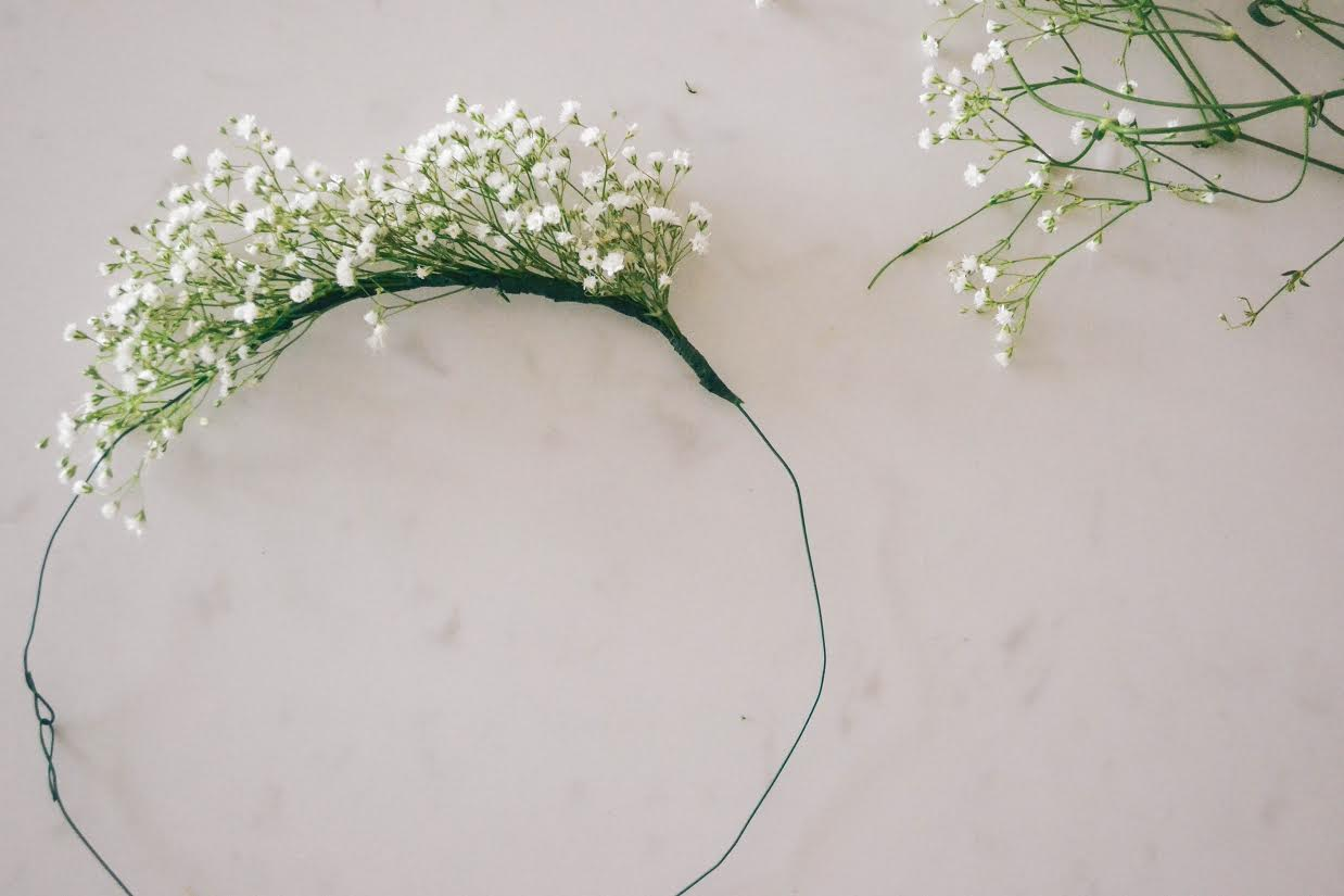 It makes it easier if you cut lots of little flower sprigs so they are ready to wrap. Place the flowers closer together for a fuller look or further apart for a lesser look.