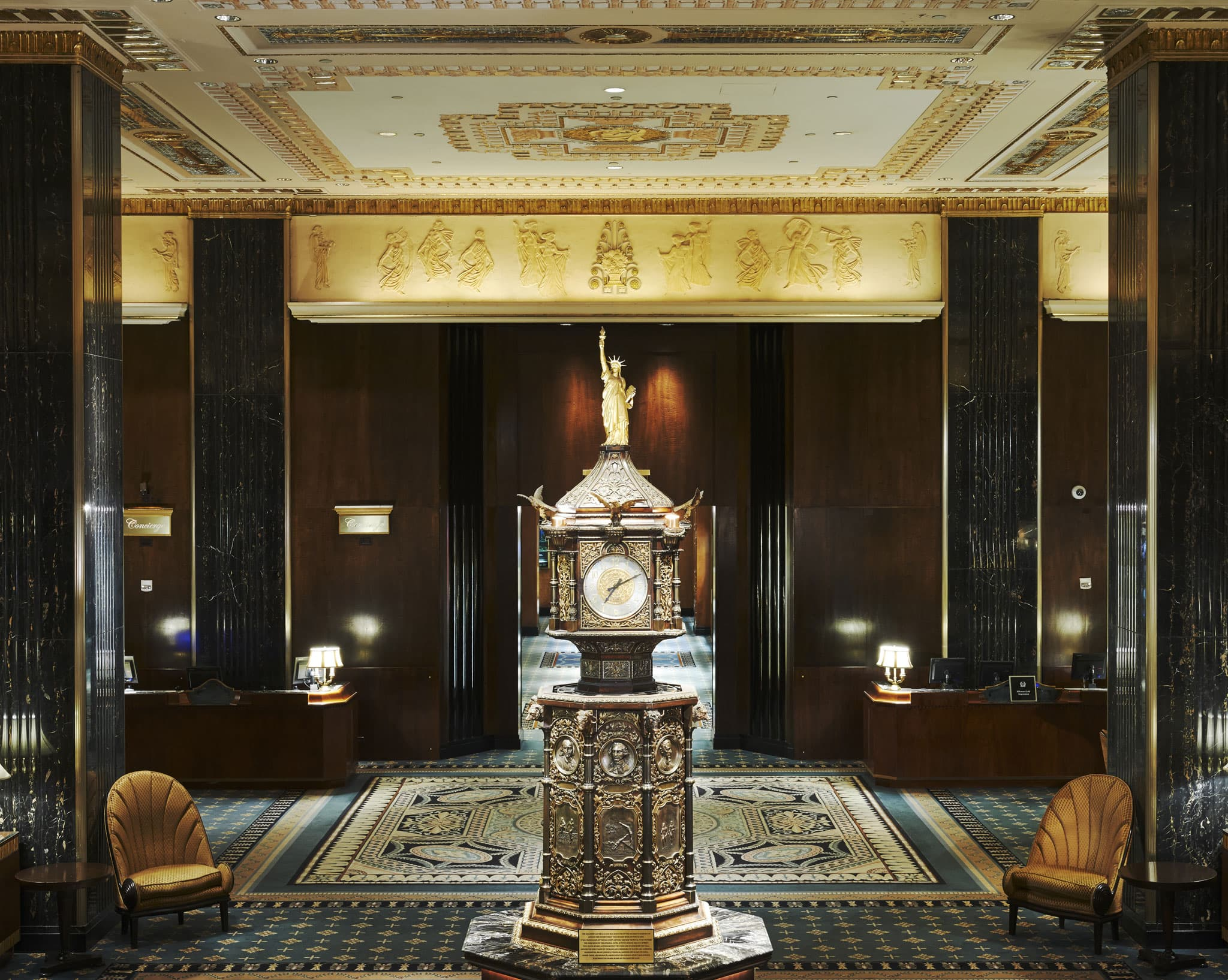 Clock at the Waldorf-Astoria Hotel. Credit: Hilton Worldwide