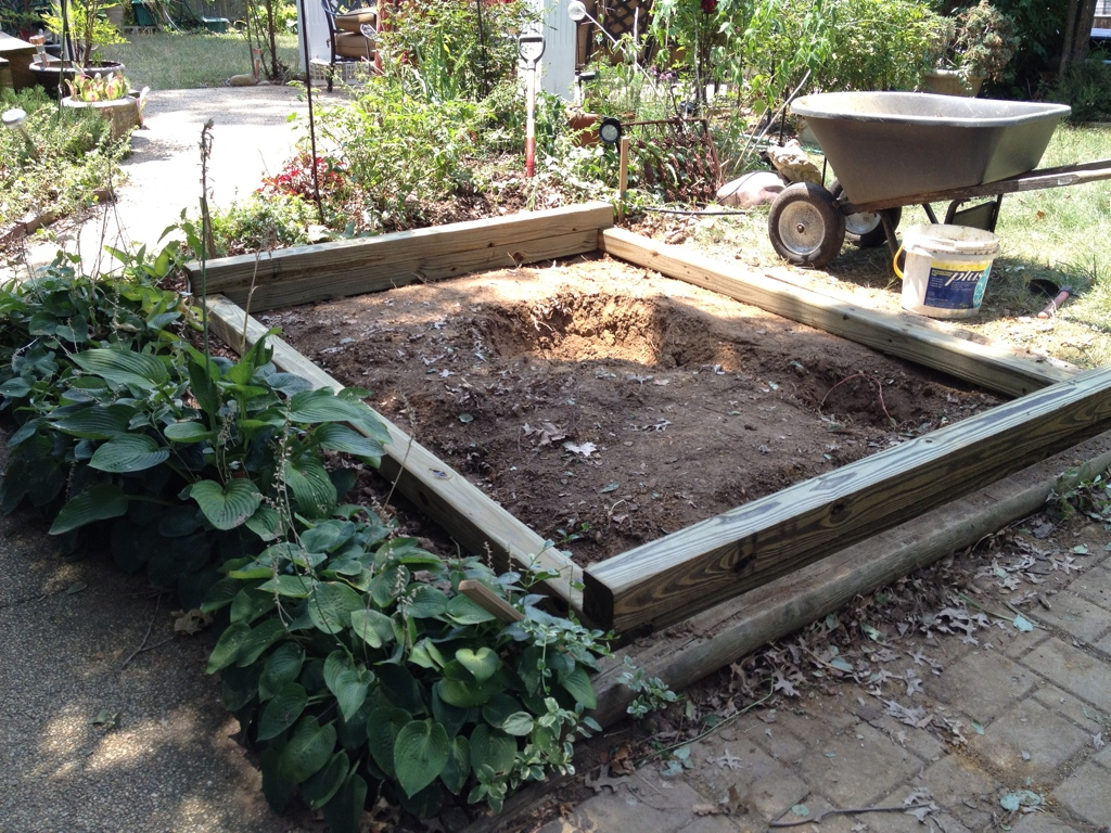 We leveled the site and built a frame out of pressure treated 4 x 4s