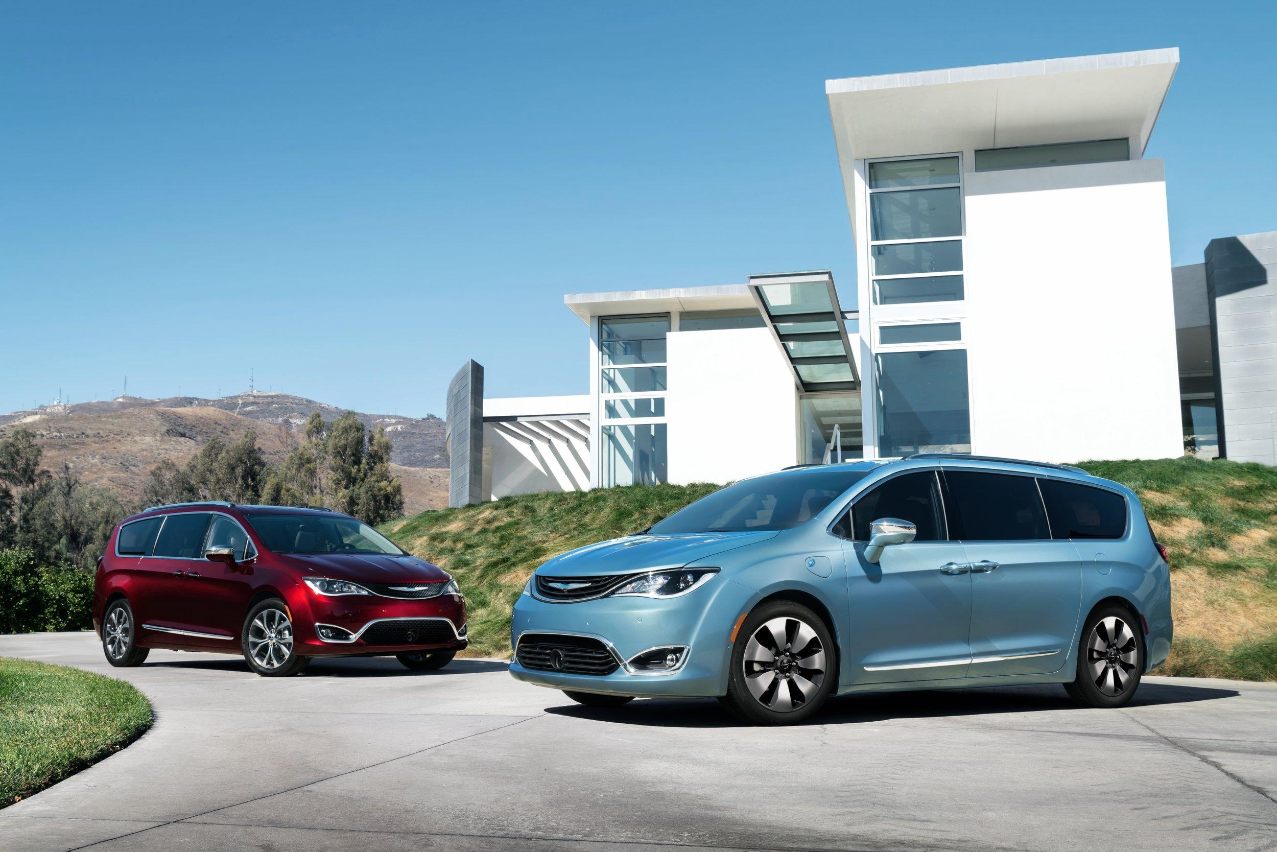2017 Chrysler Pacifica Hybrid Minivan  on the right, Photo courtesy of Fiat Chrysler Automobiles