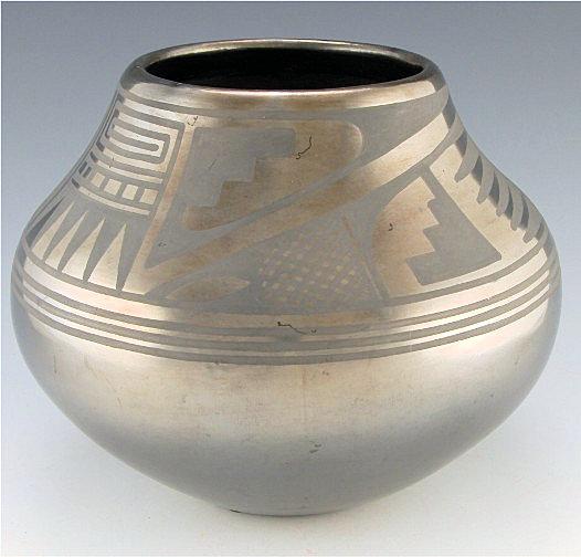 Gunmetal jar by Maria Martinez and Popovi Da, circa 1960s