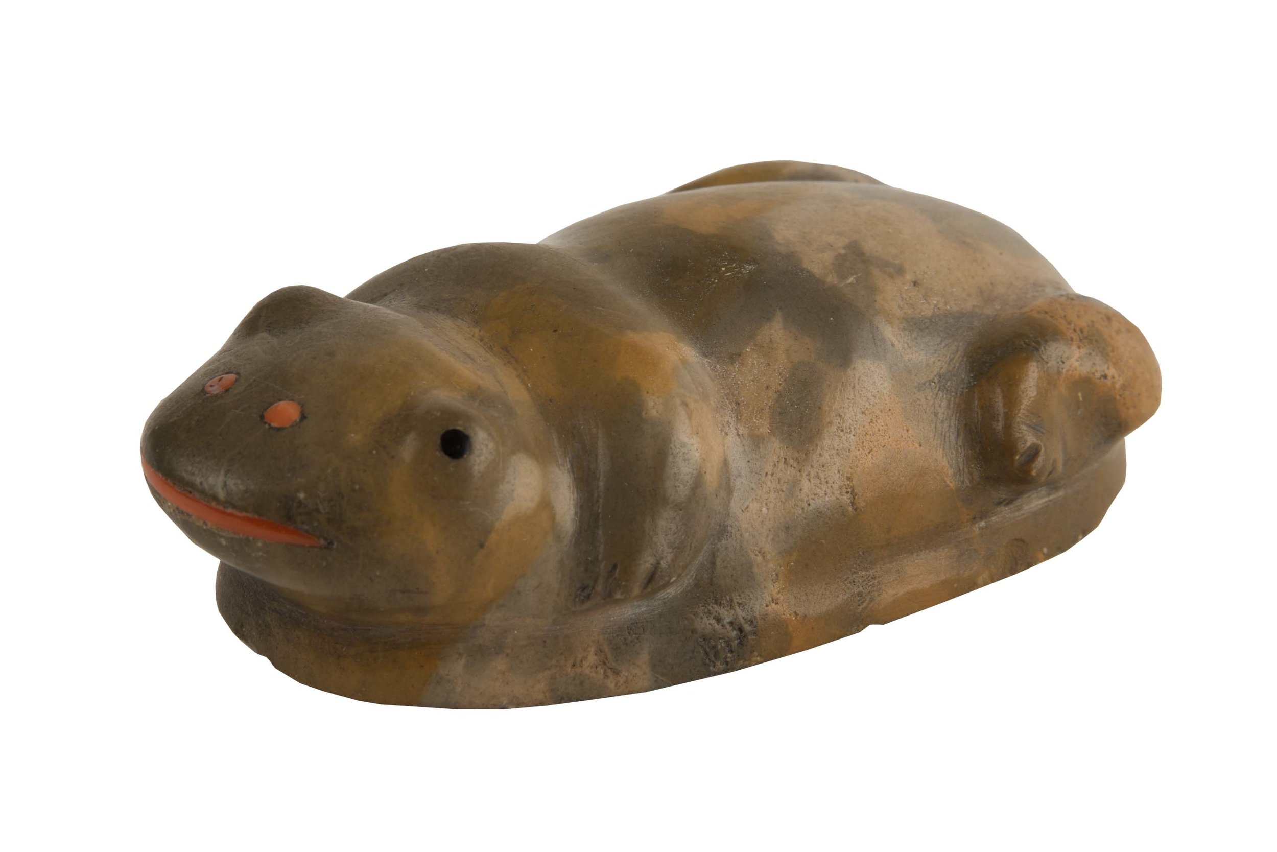 Leekya, Zuni (1889-1966) Frog carving given to Kenneth Wallace, 1930s-1950s Zuni stone, coral, jet Photographer: David Nufer Courtesy Albuquerque Museum Gift of Kenneth Alan Wallace and his children, Andrew, Aaron, Susanna, Megan and Glen 2010.34.4