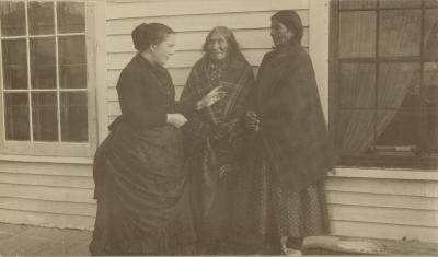 Alice Fletcher with two Ho-Chunk (Winnebago) women at the Winnebago Agency, 1888.
