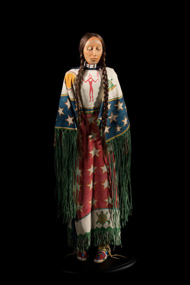 "Ghost Dance Doll by Lakota artist, Rhonda Holy Bear, H 20"", 1998"