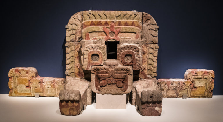"""Installation of """"Teotihuacan: City of Water, City of Fire"""" at the de Young Museum. Image courtesy of the FAMSF."""
