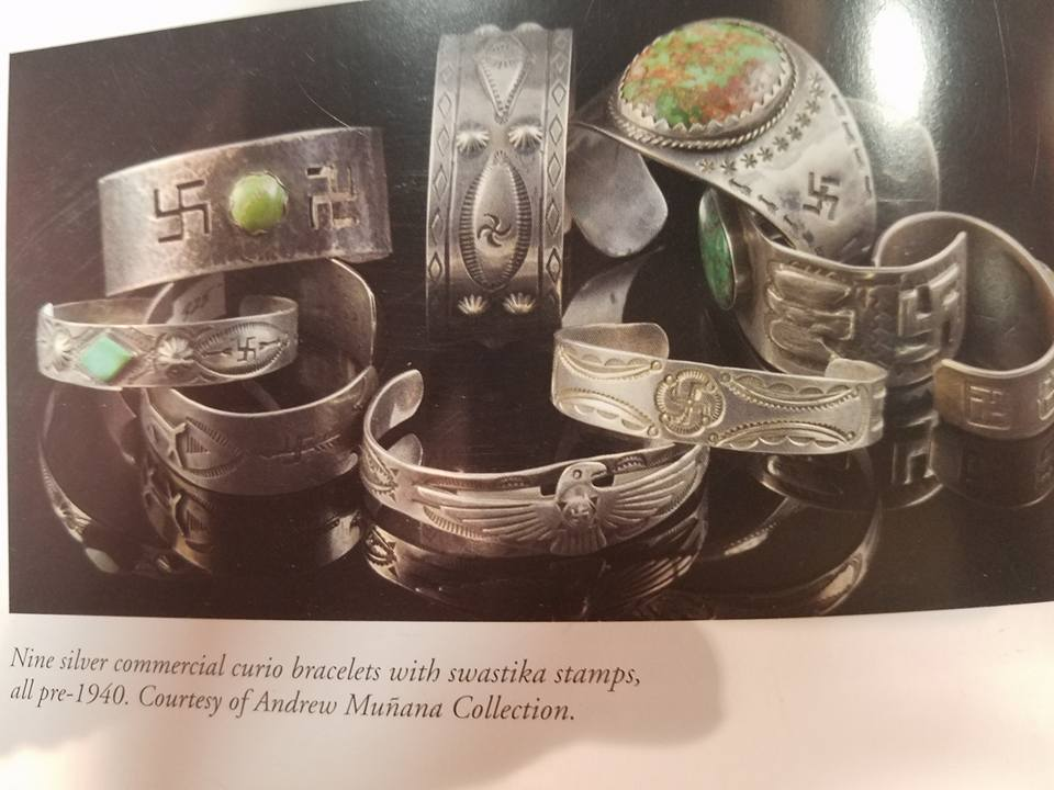 4 bracelets in this published group. (SOUTHWESTERN INDIAN BRACELETS, author, Paula Baxter) Other whirling logs (swastika) pictured below.