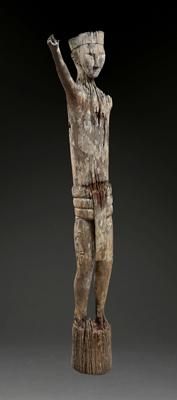 "Ancestral Figure ""Patong"" Ngaju Dayak. Borneo Island, Indonesia. Hardwood. H: 68"" (173 cm). 18th to 19th century"