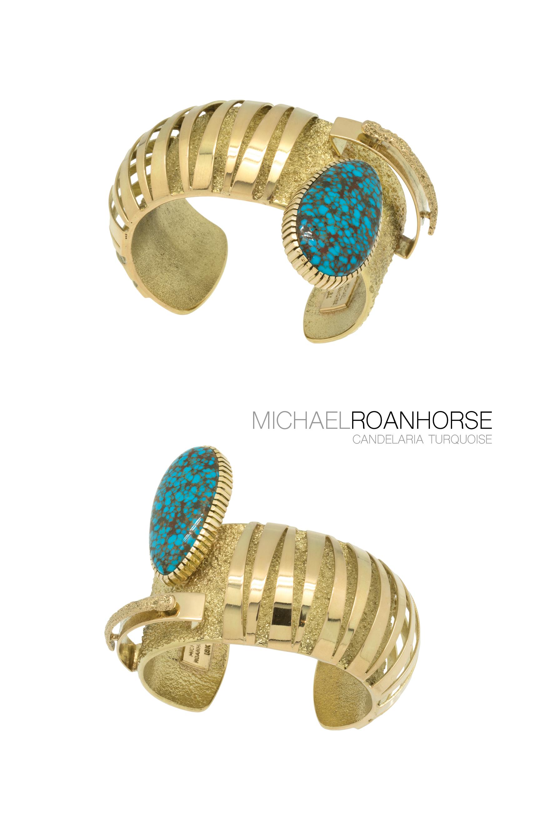 18k gold bracelet with Candelaria turquoise