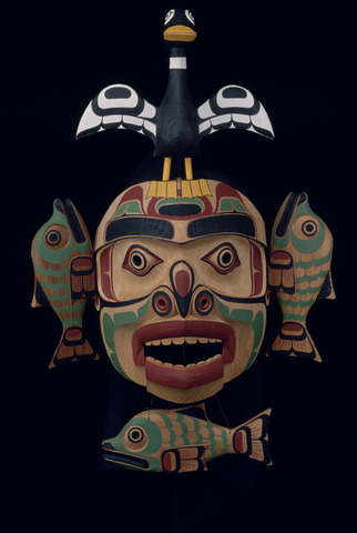 Richard Hunt (Kwakwa̱ka̱'wakw),  Sea Monster Mask , 1999. Wood, plastic, textile, and paint. Yale Peabody Museum of Natural History, inv. no. YPM ANT.256928. Photo: Div. of Anthropology, Yale Peabody Museum, 2009