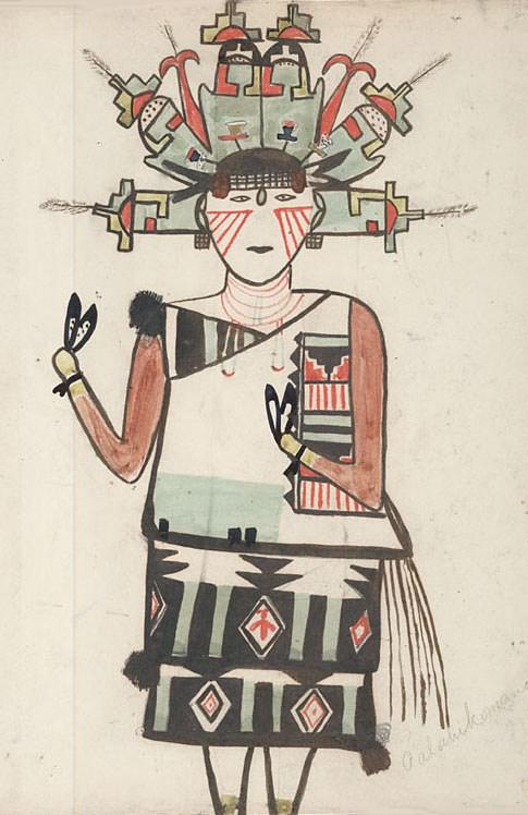 Palahiko Mana, Water Drinking Maiden c. 1899, Unknown Hopi Artist via Wikimedia Commons