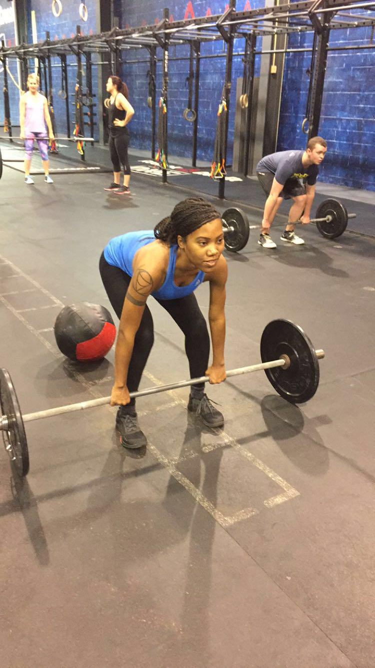 Alicia taking a CrossFit class at Reekok headquarters