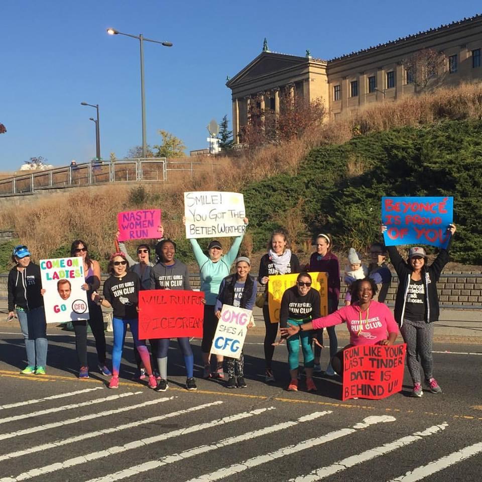 City Fit Girls Cheering at the Philadelphia Half Marathon
