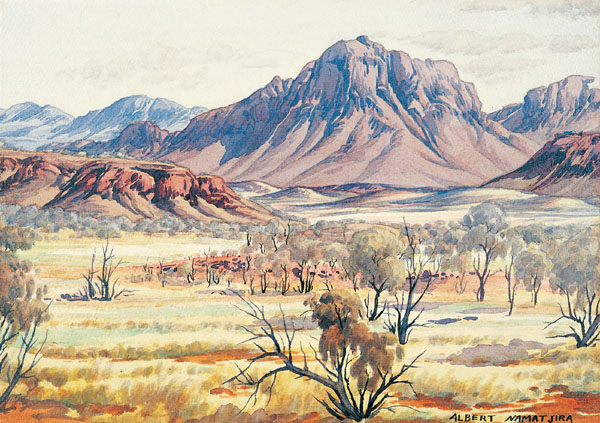 Mount Sonder, MacDonnell Ranges  c.1957-59  Albert Namatjira  watercolour and pencil on paper Source: National Gallery of Australia