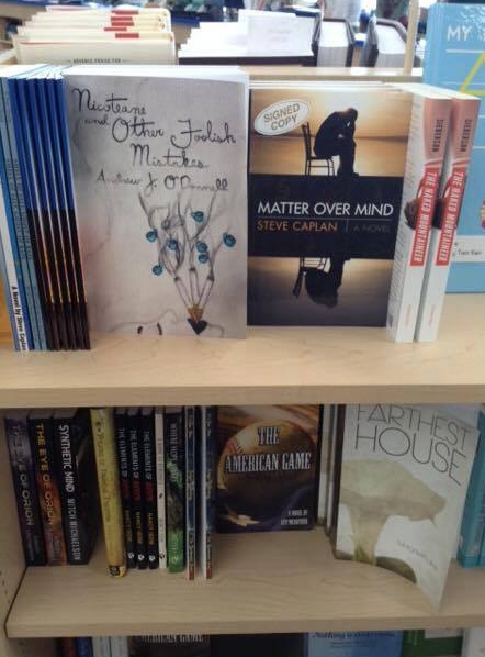 Nicoteane and Other Foolish Mistakes  on bookstore shelves in Omaha, Nebraska. 2015 (a.j.k. archive)