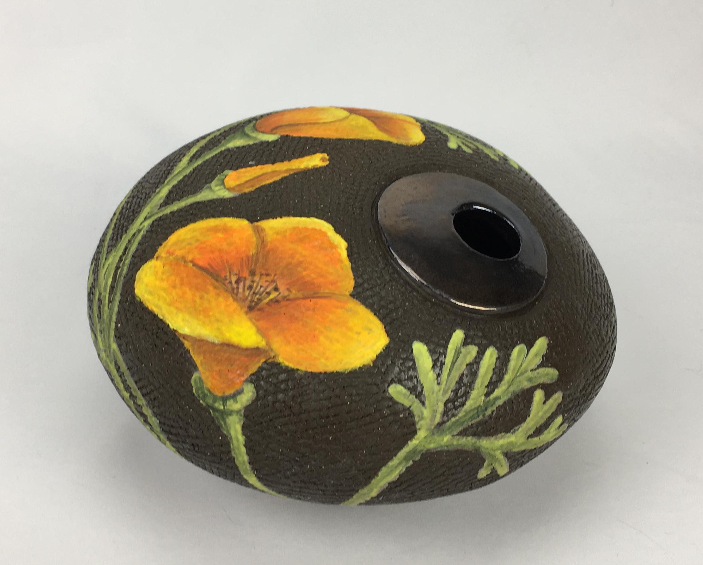 Round Vase with California Poppy