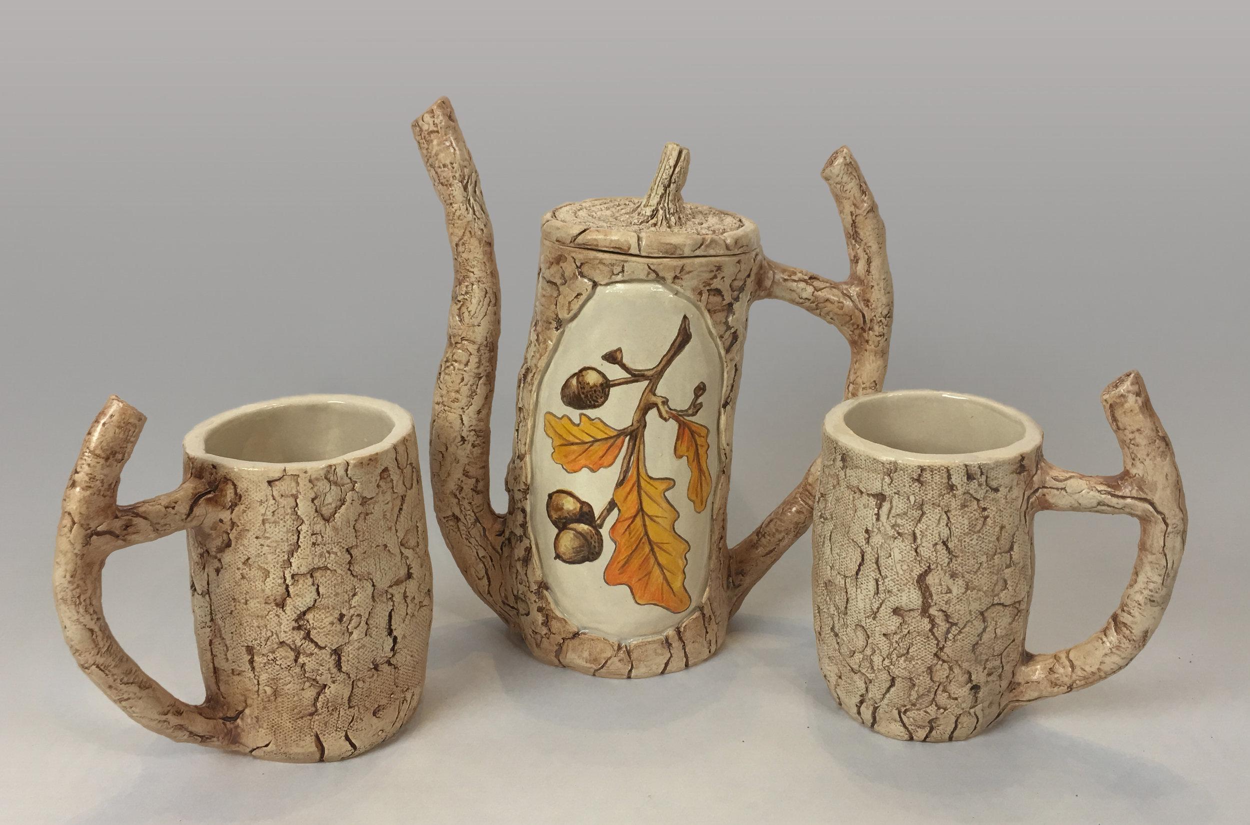 Tea Set with Oak Branch