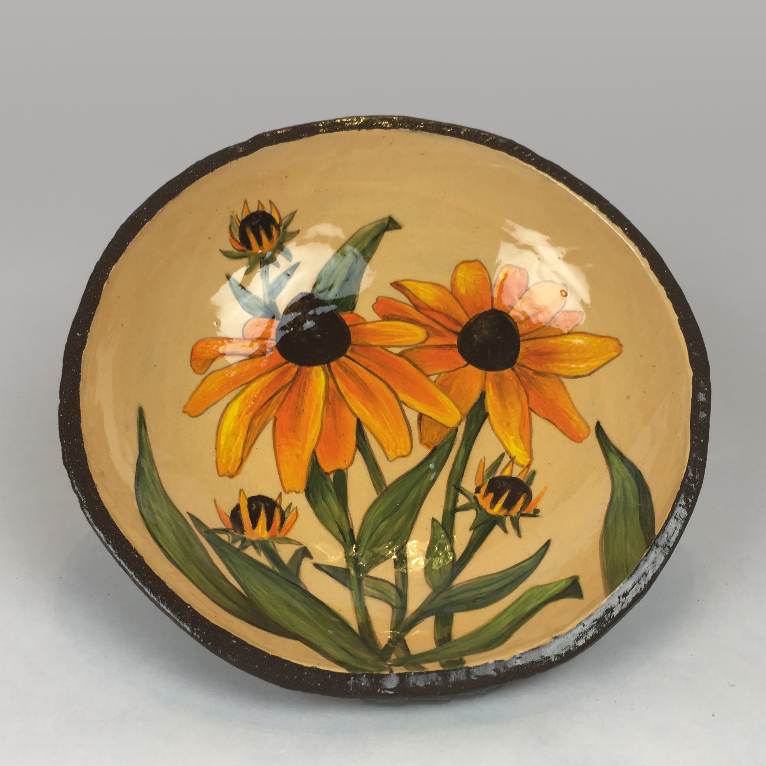Plate with Rootbekia Flowers