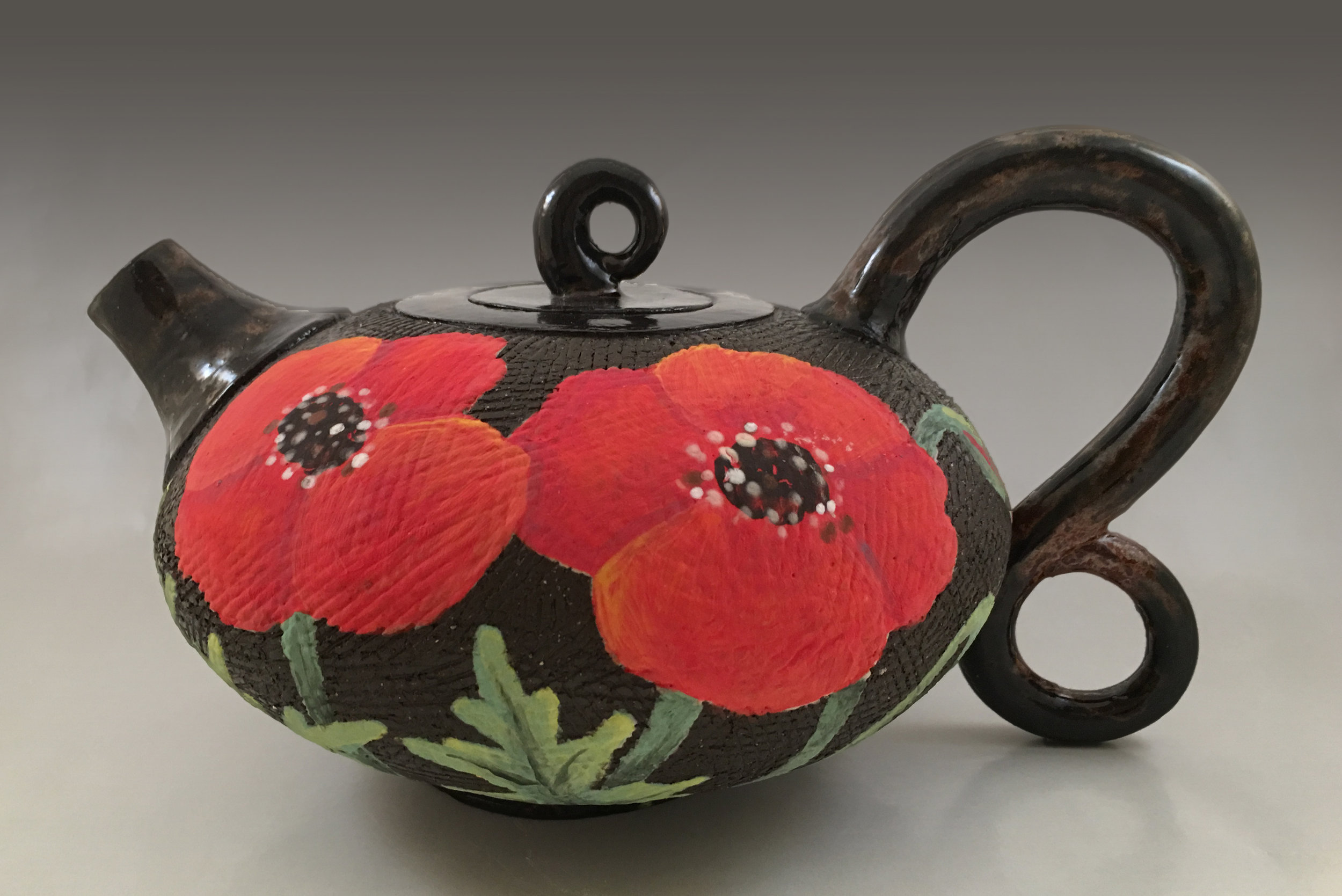 Teapot with Poppy Flowers