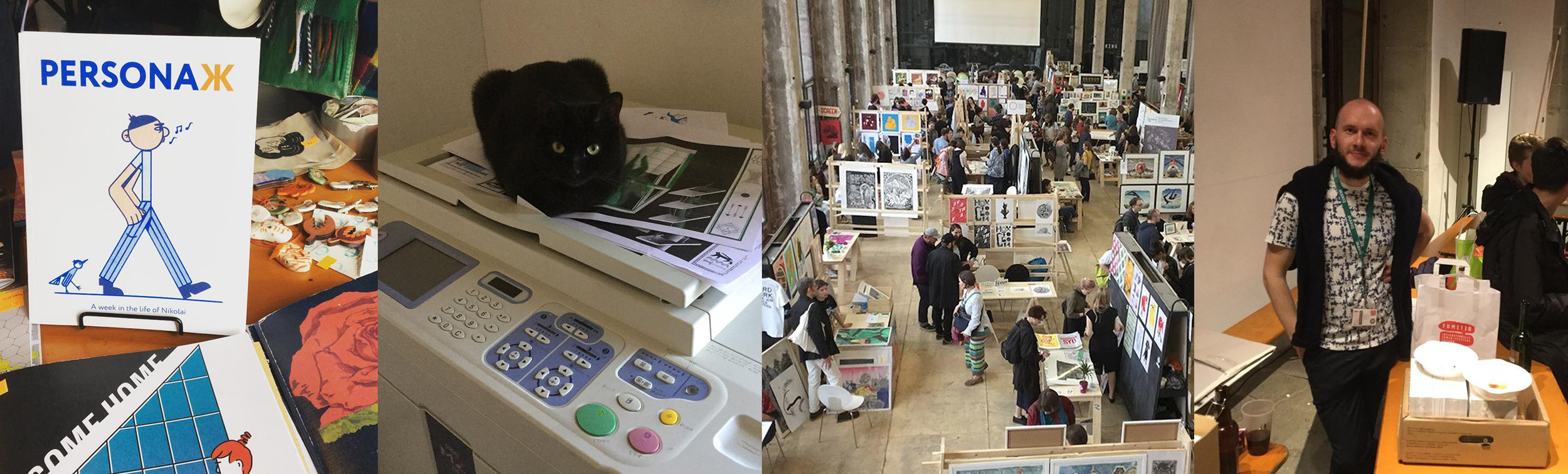 Out and about... from left to right, PersonaЖ on display, Sputnik the Cat sitting on her Risograph throne, Vkus Bumagi print fair in Moscow and Andrey taking it easy after a busy day at Fumetto.