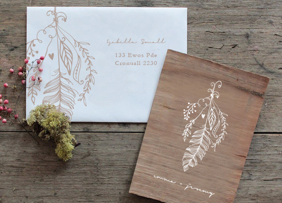 wood and white event stationery