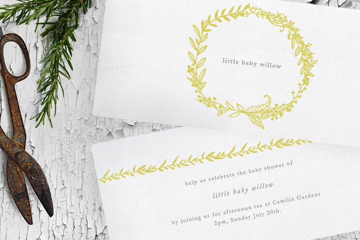 gold and white baby shower invitation