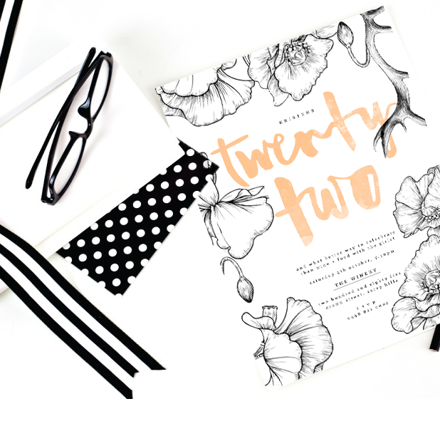 peach black and white wedding stationery