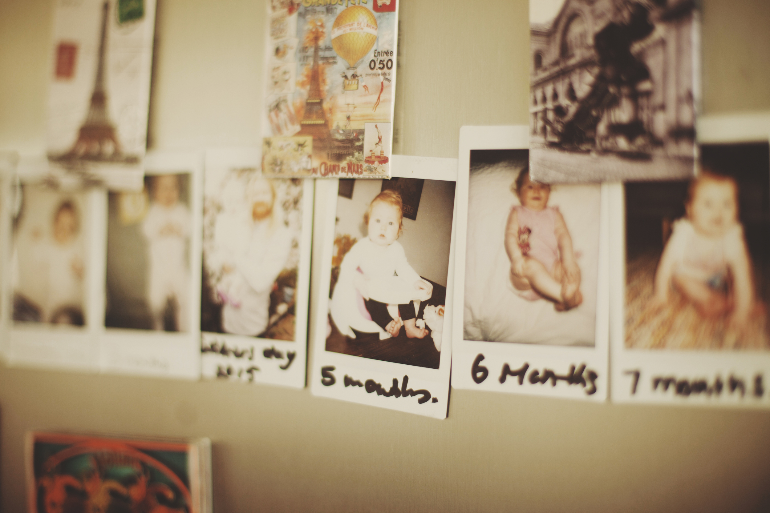 Polaroids of baby's first year of life