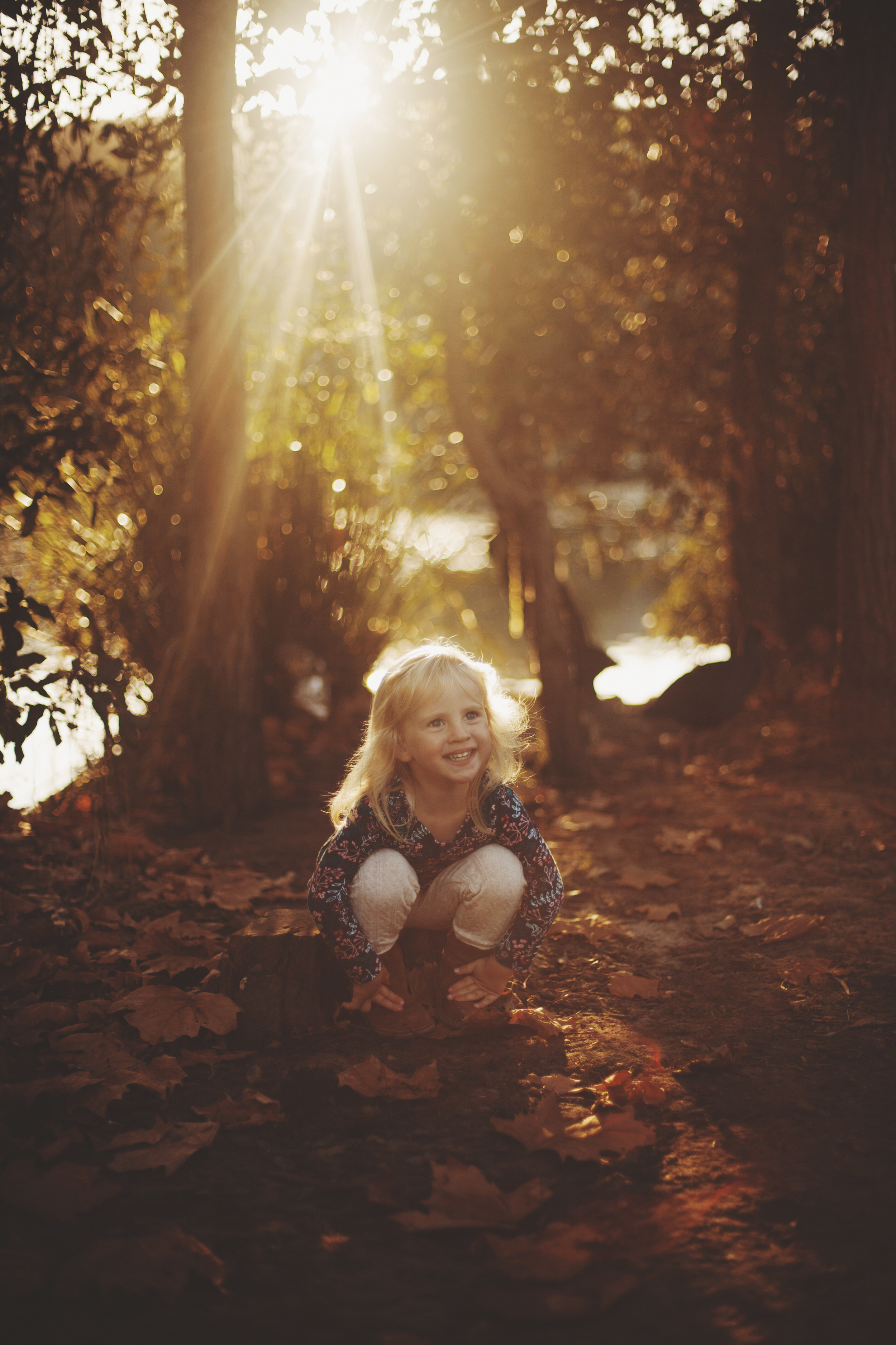 young girl sitting amongst autumm leaves at golden hour