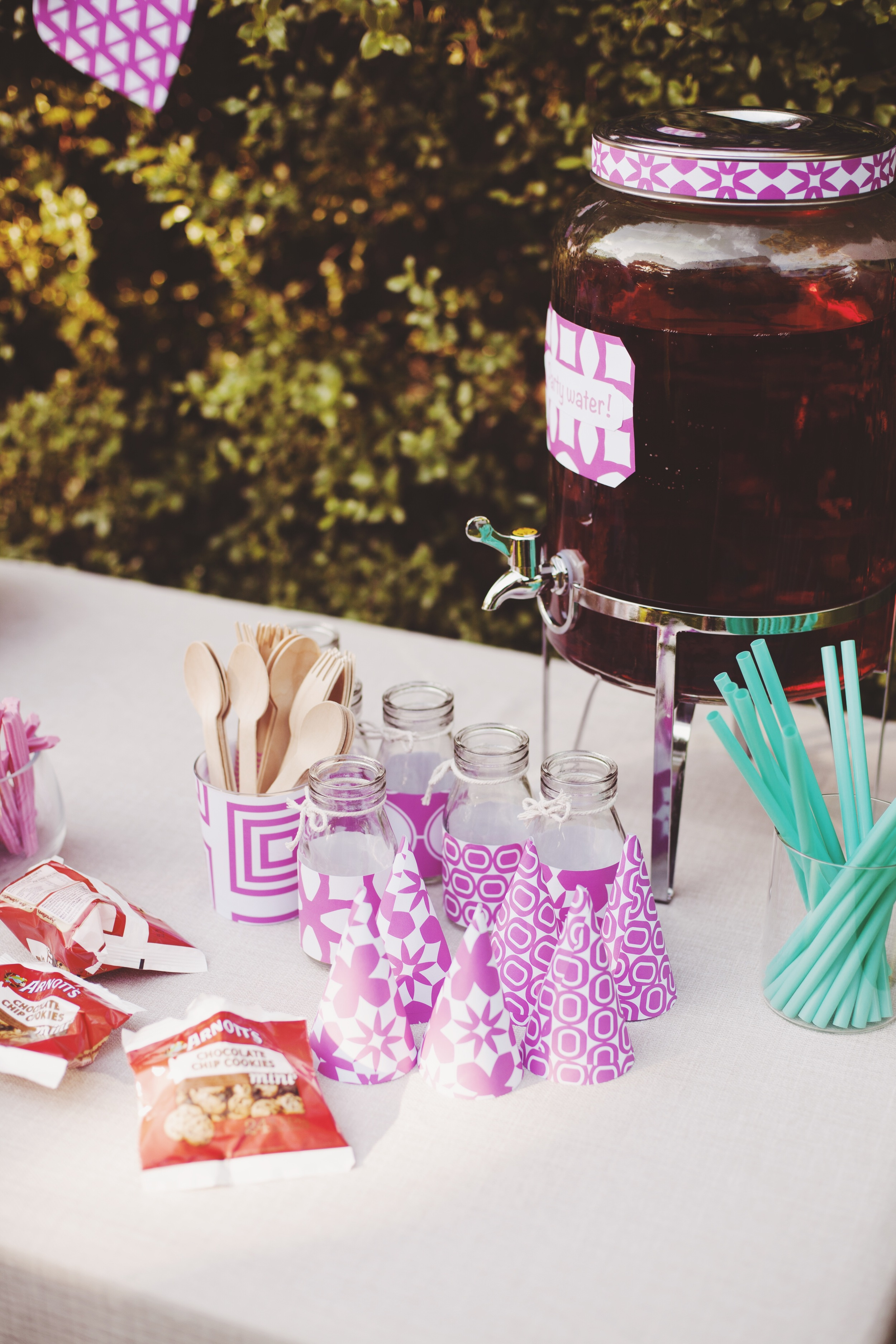 purple styled table for kids birthday