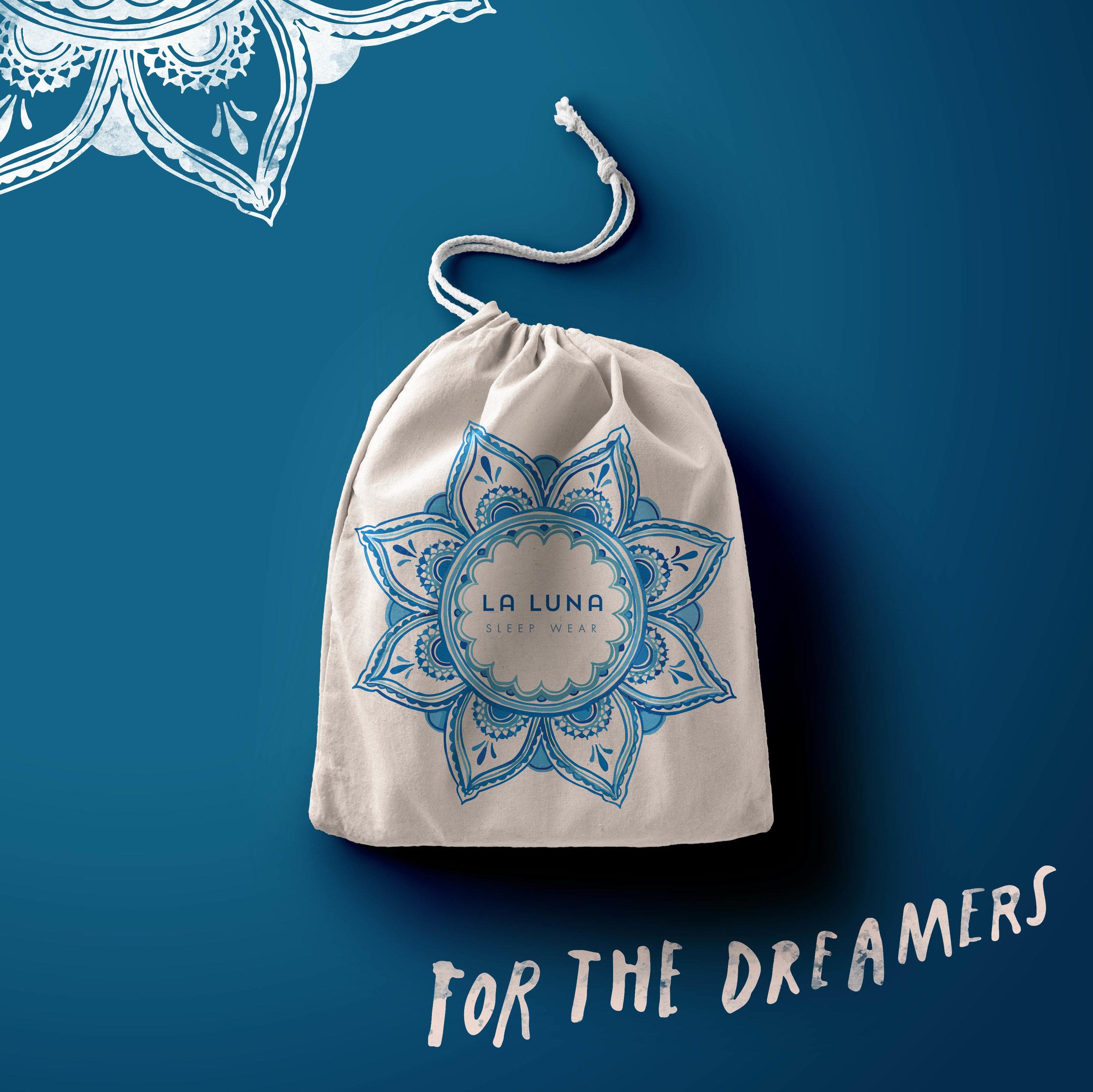 Blue La luna logo printed on small canvas bag with intricate mandala surrounding words