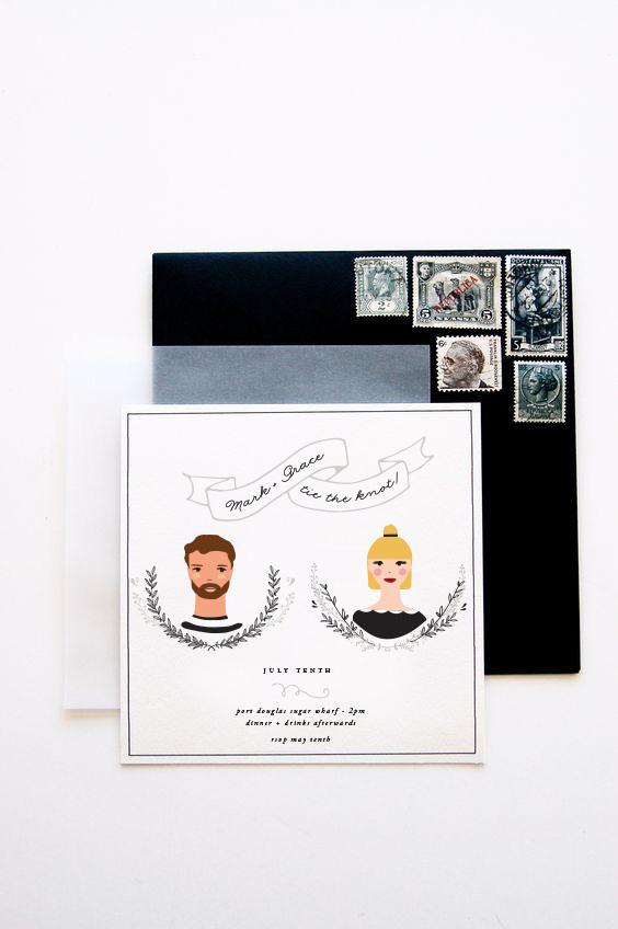 wedding stationery with illustration of couple