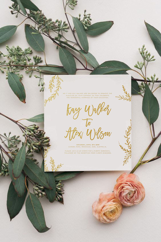 gold and white wedding stationery