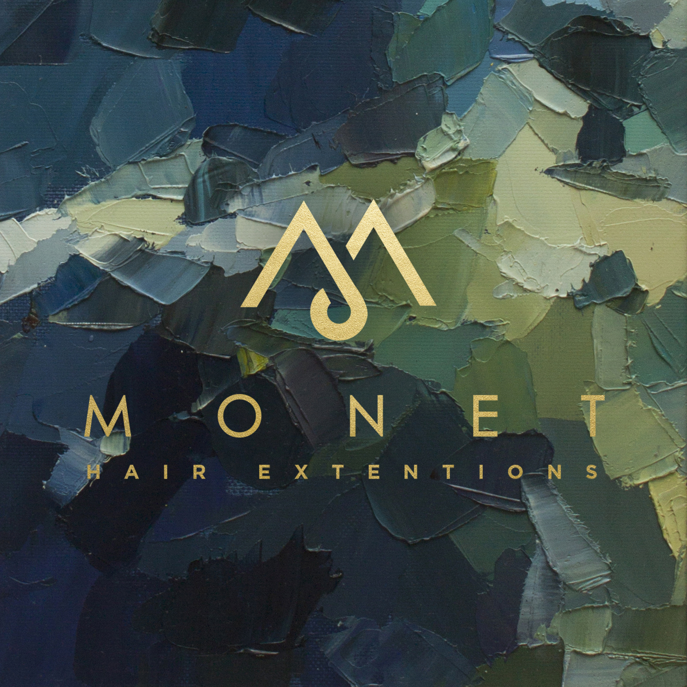 Monet hair extensions logo with paint background and gold lettering