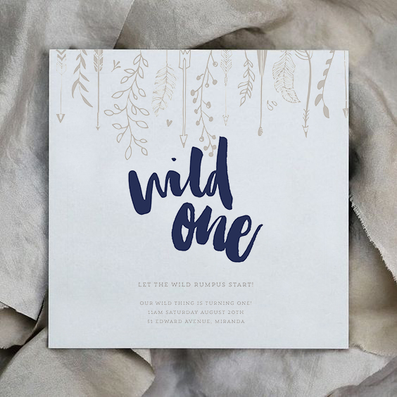 blue and beige event stationery