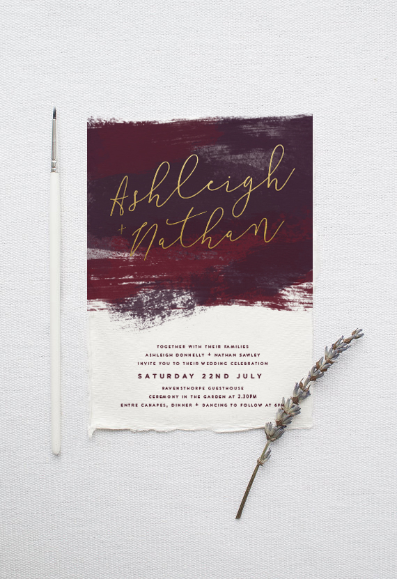 burgundy and gold watercolour wedding stationery
