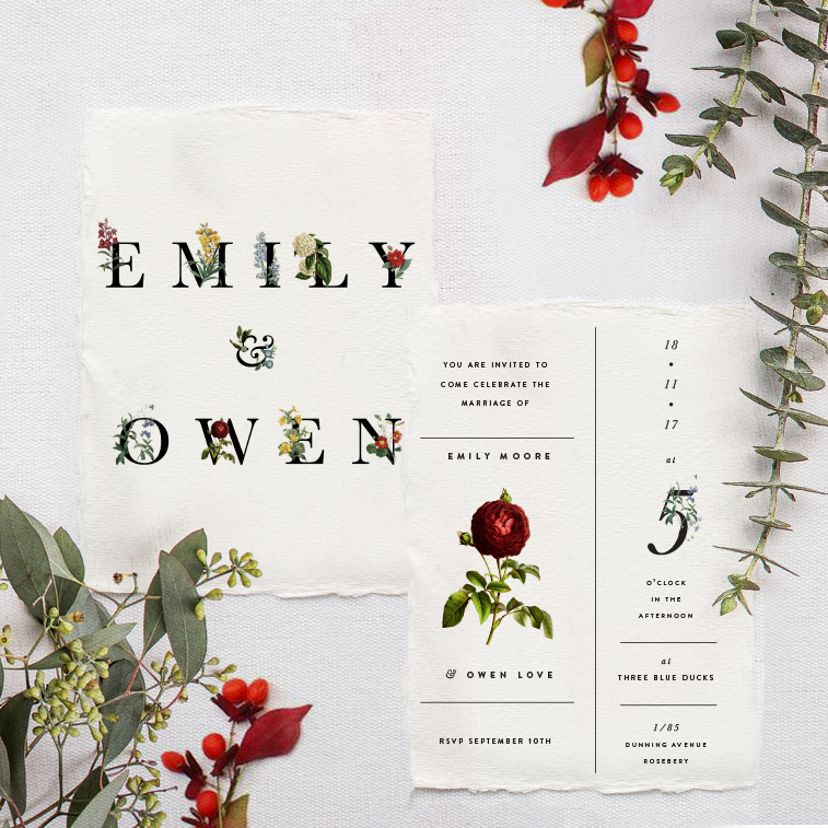 minimal foliage wedding stationery