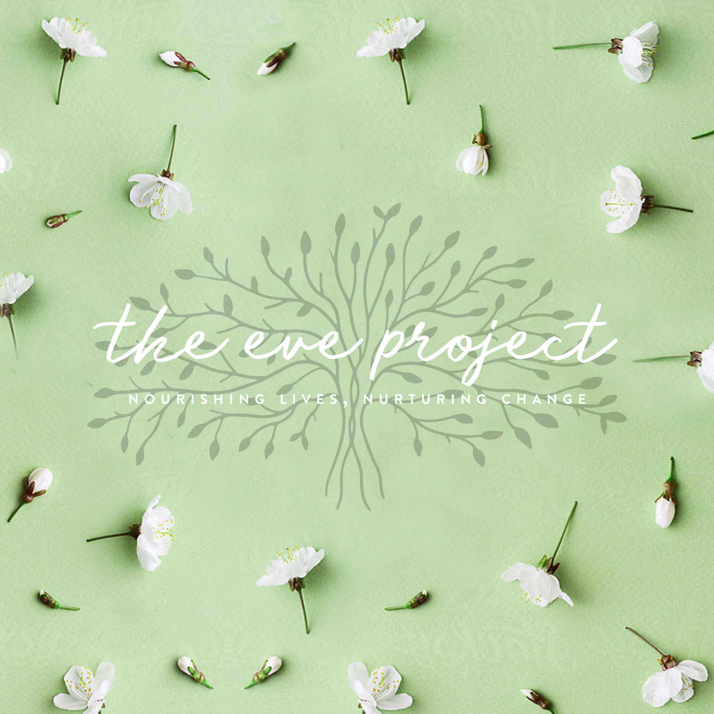 The eve project logo with green tree background