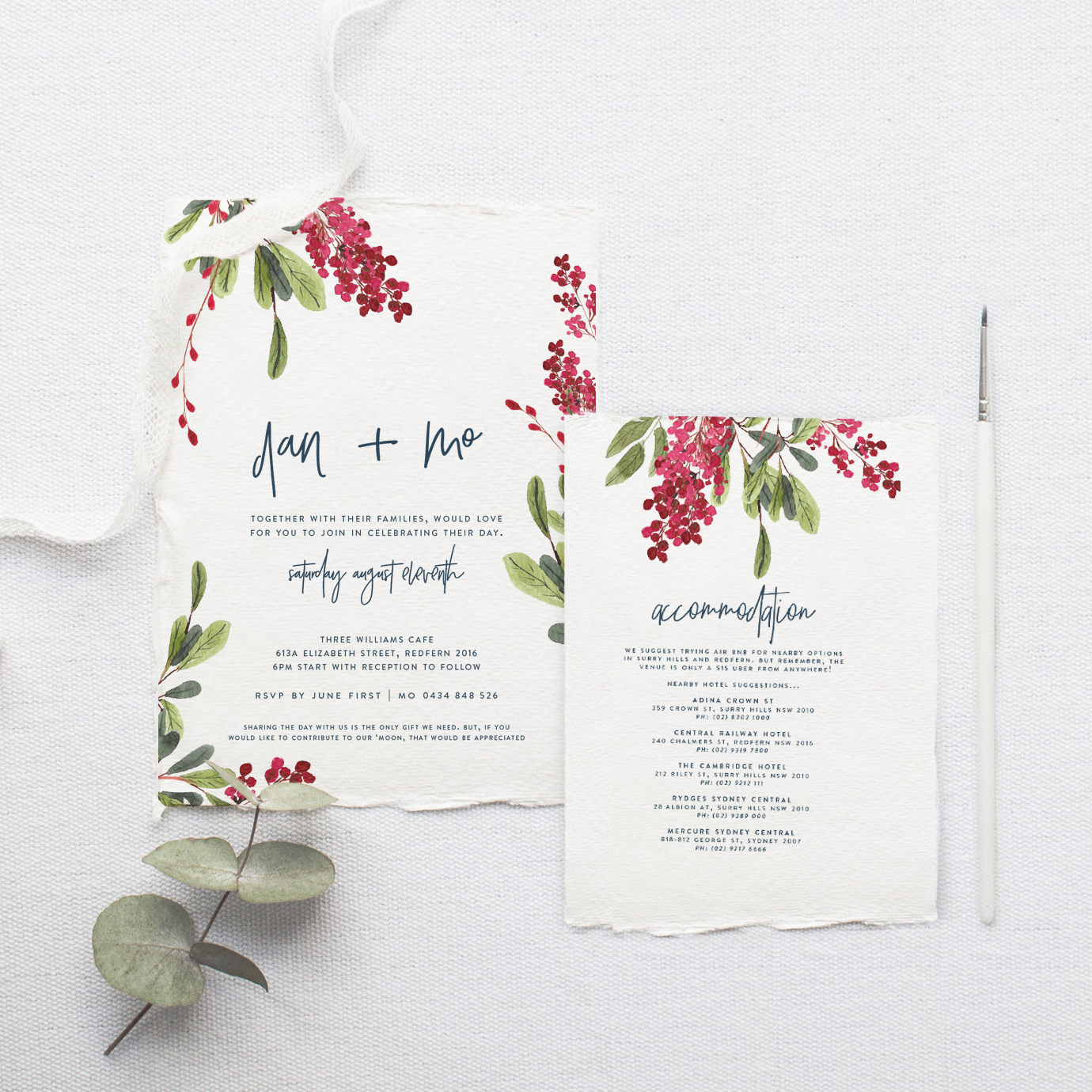 red white and green floral wedding stationery