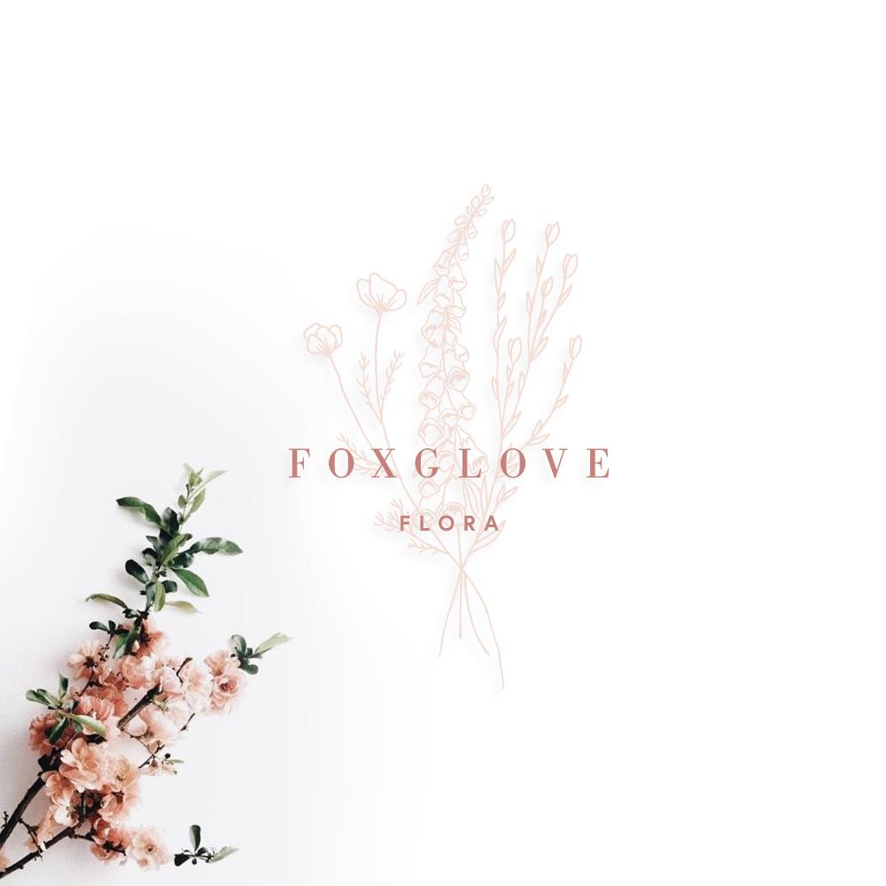 Foxglove flora logo in pink text with light pink florals