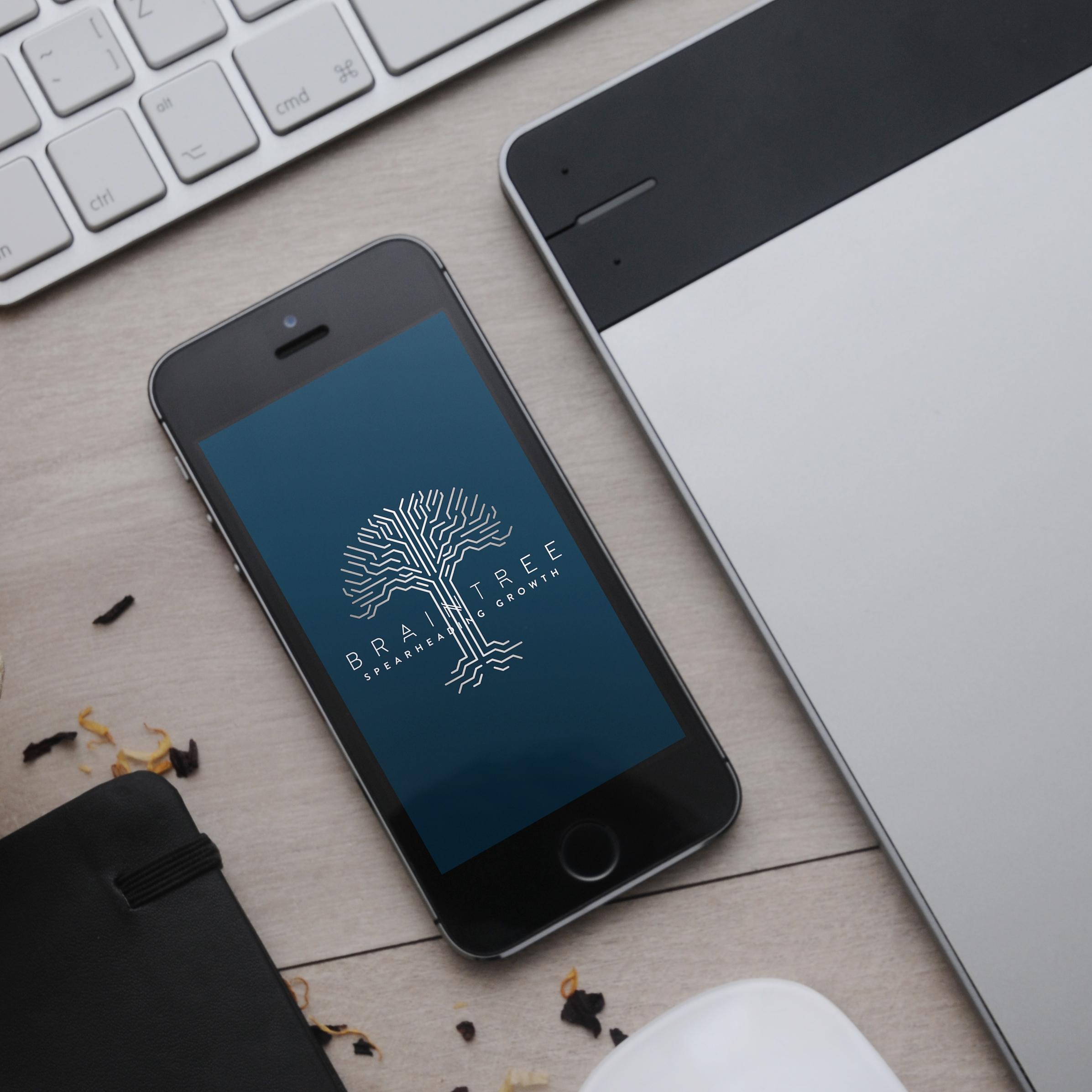 Brain tree logo mockup on iphone