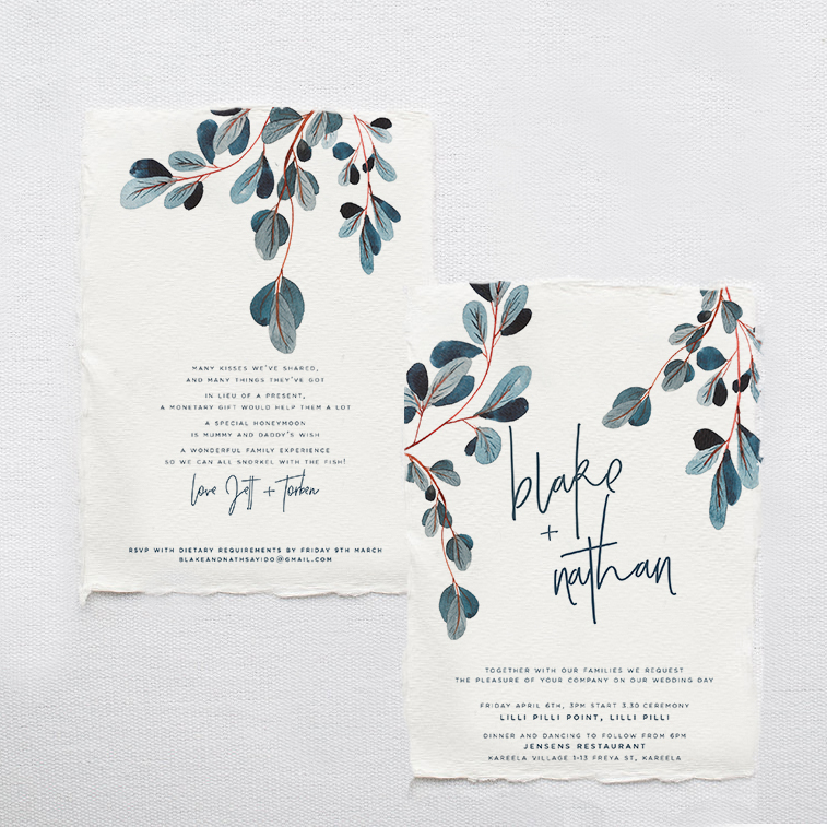 white and blue wedding stationery