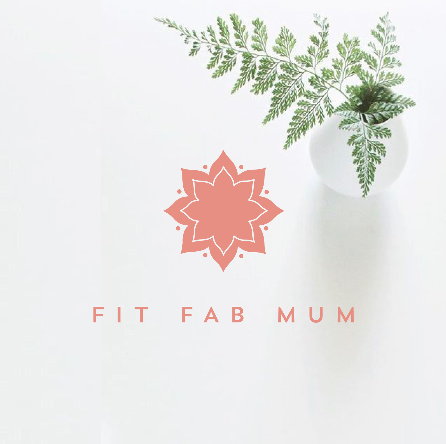 Fit fab mum logo on white background with pink lettering and pink mandala