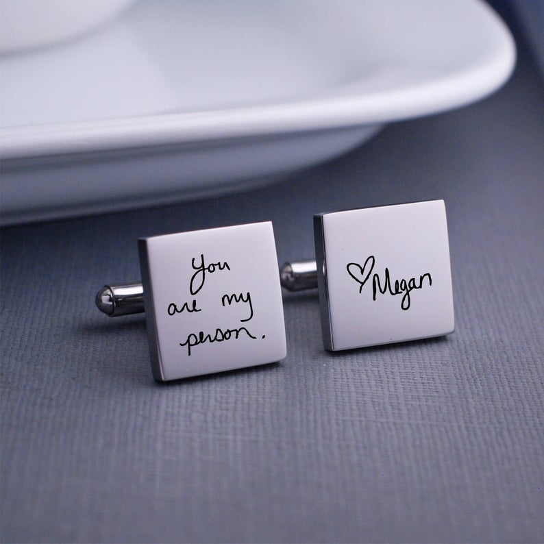 The Paper Fox Wedding Gift Guide. Personalised Silver Cufflinks with Handwriting