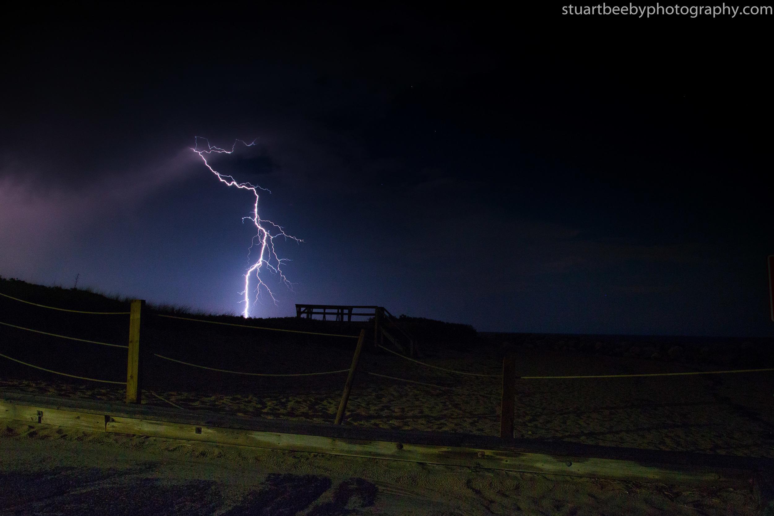 Lightening Strike at Corporation Beach, Dennis, Cape Cod