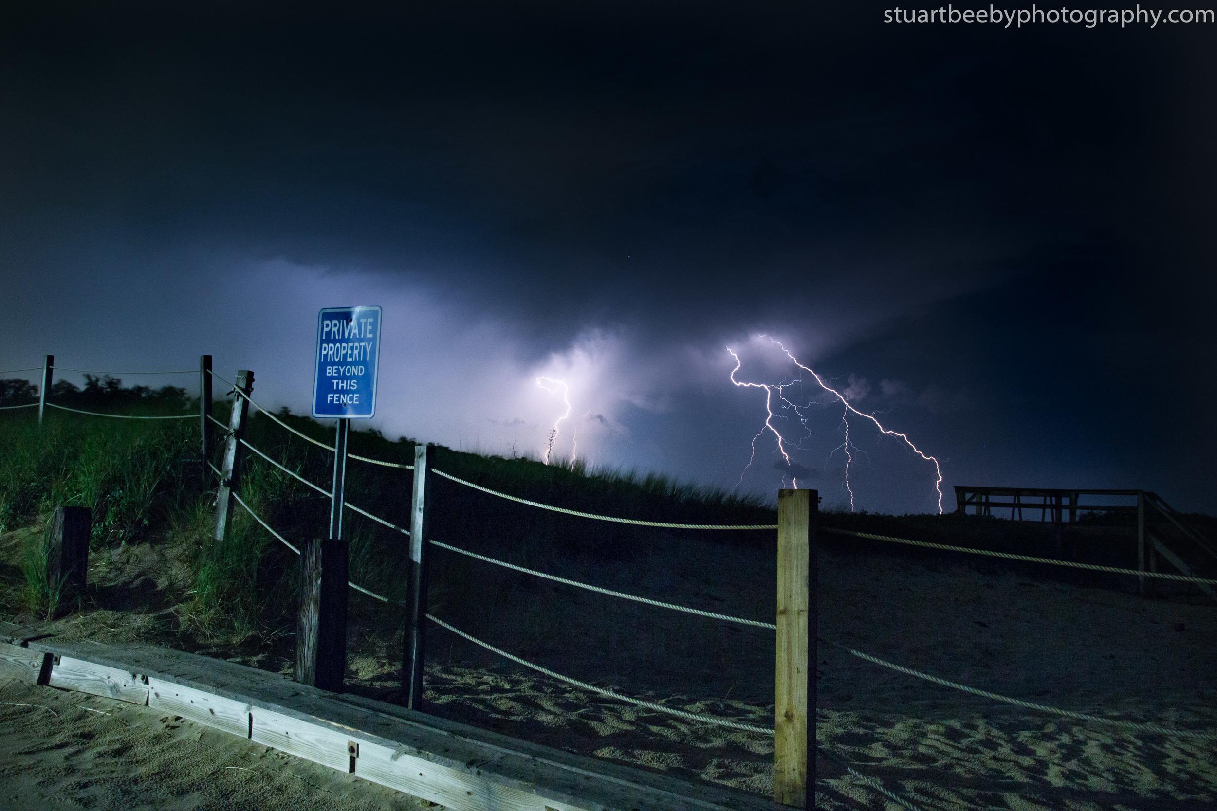 Double Lightening Strike at Corporation Beach, Dennis, Cape Cod