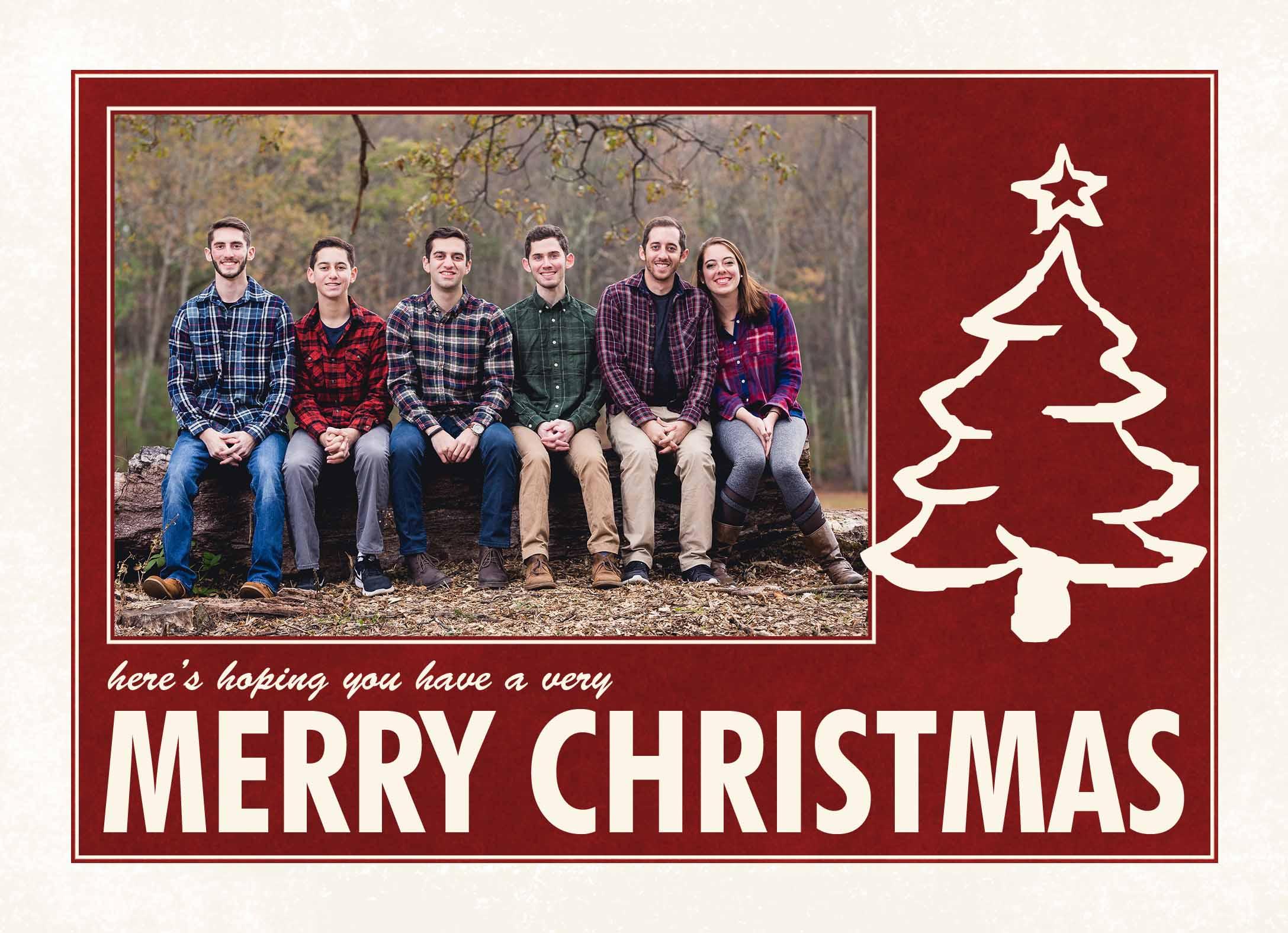 Folded Christmas card example