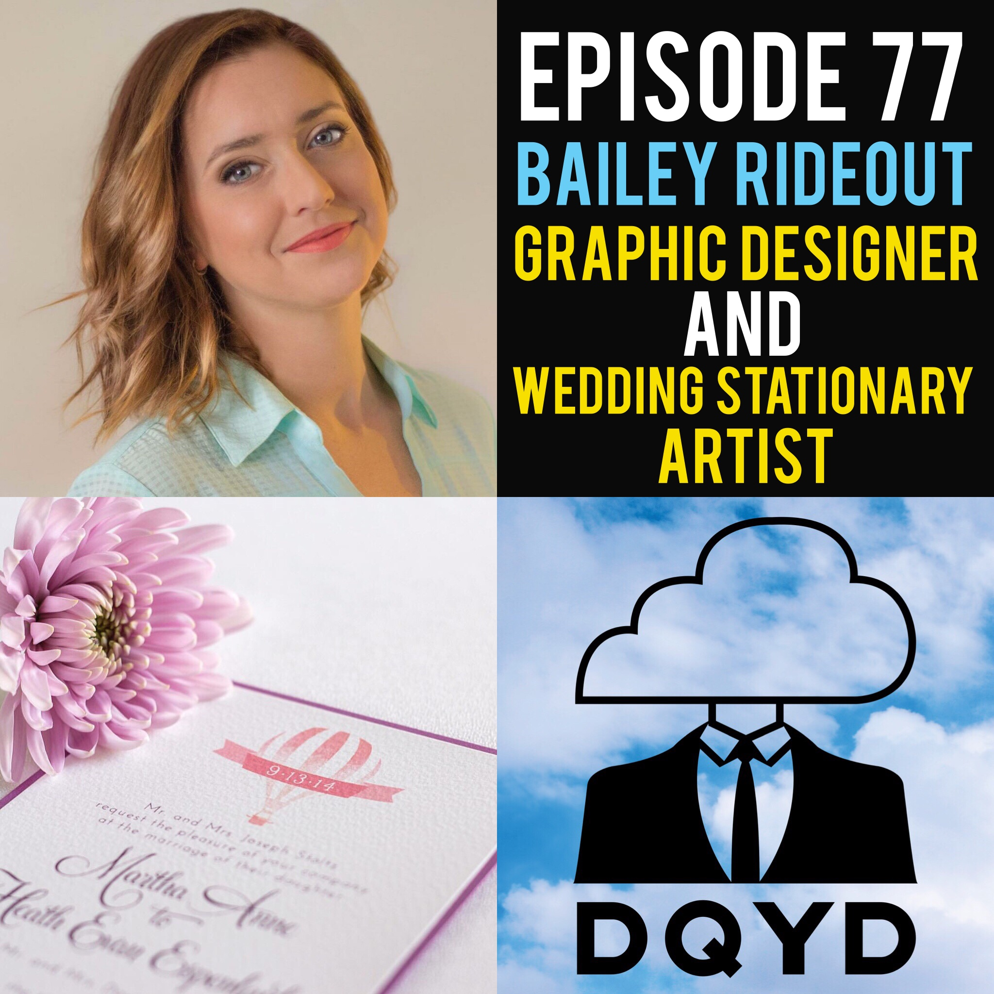 "Episode 77 of Don't Quit Your Daydream is with Graphic Designer and Wedding Stationary Artist: Bailey Rideout! Bailey sits down to discuss how she uses her talents to help clients achieve was is often considered the most important day in their lives. Changing trends, hectic schedules and numerous opinions are all constants that she gives great advice in dealing with. Contact Bailey Marie Studio if love is the air.  http://www.baileymariestudio.com/   Song of the week is ""Neck Kisses"" from the immensely talented electronic artist Murphy's Horizon! Check out more of his stuff now! https://murphyshorizon.bandcamp.com/"