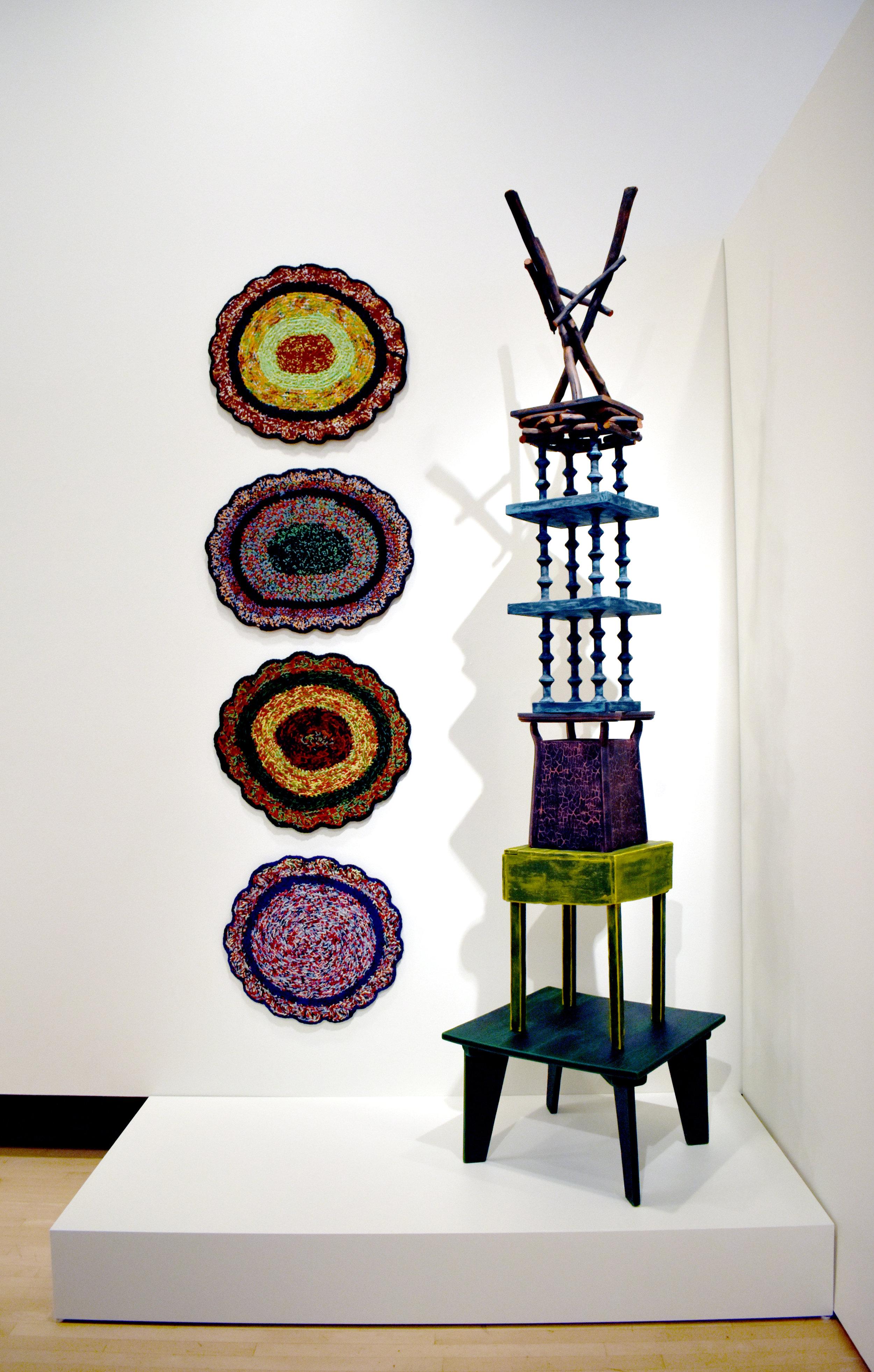 Sharon Bates,  Tall Yarn ;  Stacked , 2018, Installation view