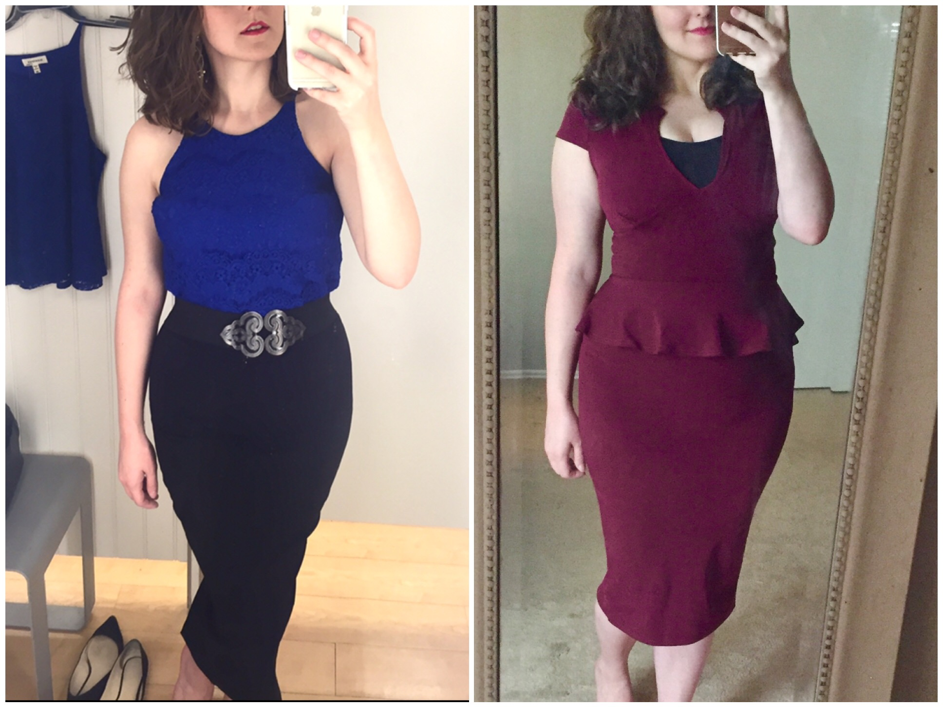 Here I am a month before getting pregnant on the left, and a couple weeks after giving birth on the right.